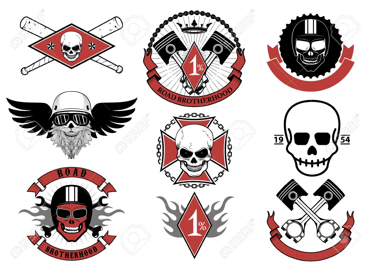 Racing-Icons. Racers Schädel. Biker Schädel Embleme. Vector Design ...
