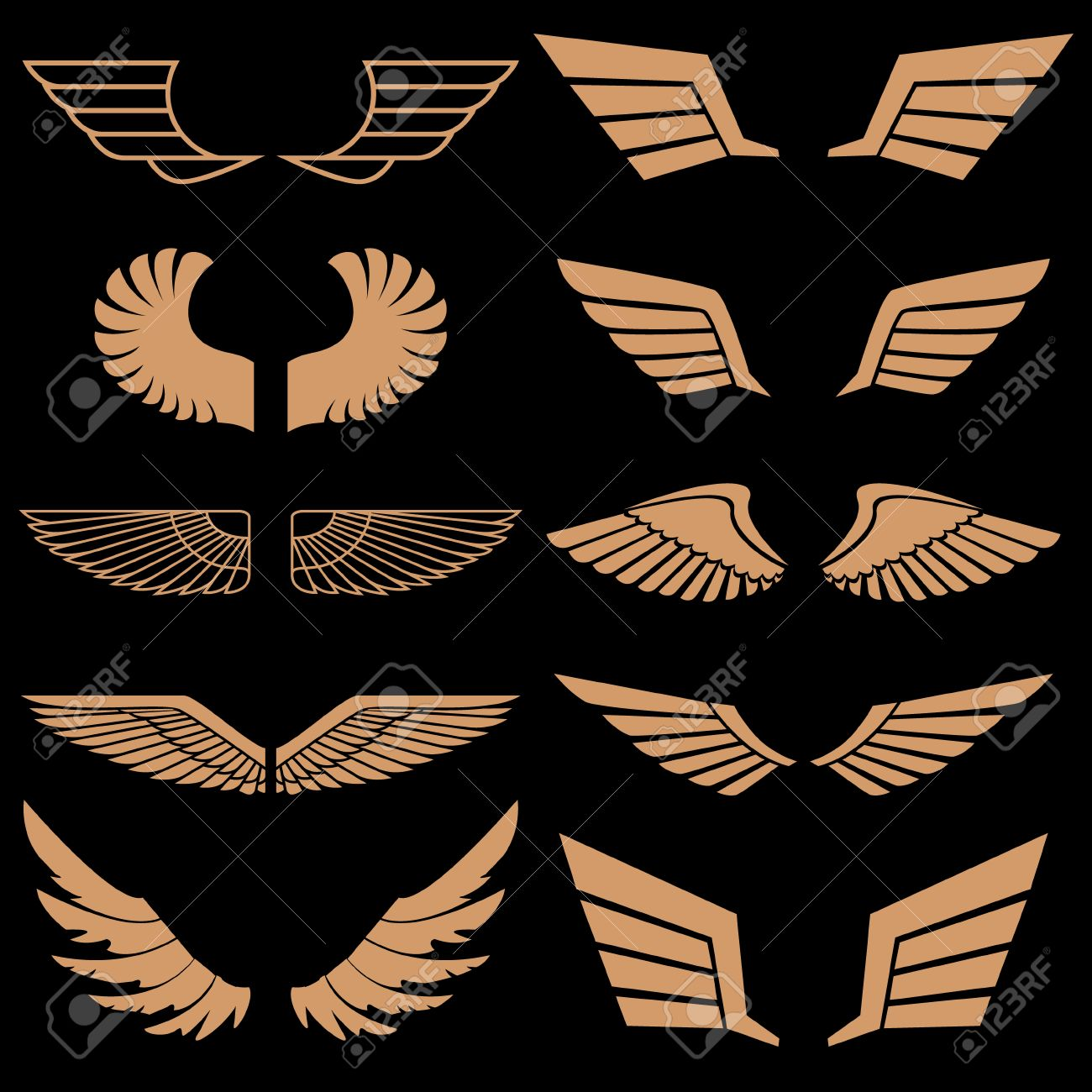set of wings in vector gold style vector wings wings icons