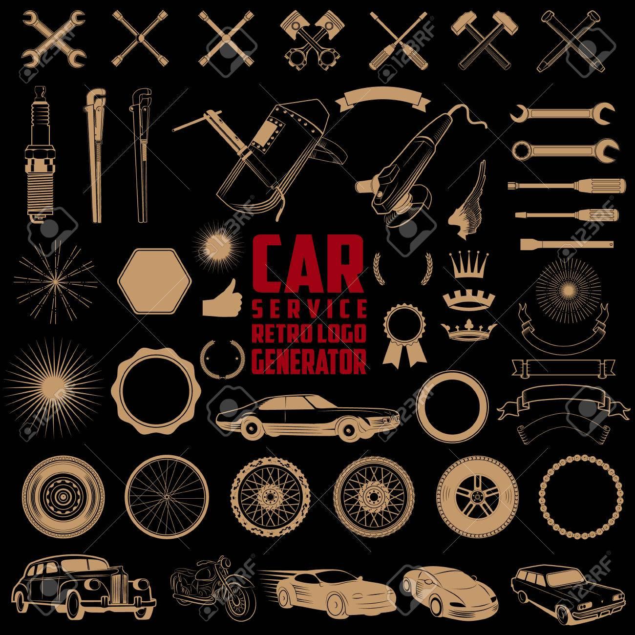 Set Of Design Elements For Car Service Car Wash Auto Parts