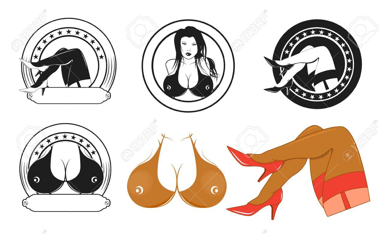 Strip-Club-Etiketten-Vorlagen. Design-Elemente Für Logo, Etikett ...
