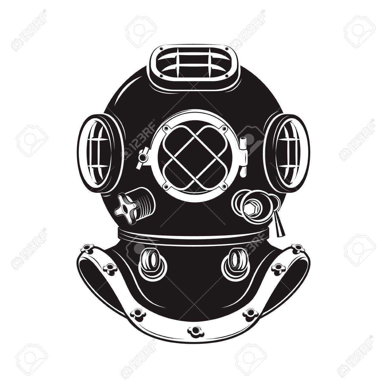 Old style diver helmet isolated on white background. Design element for t-shirt print, poster, emblem. Vector illustration. - 59976797