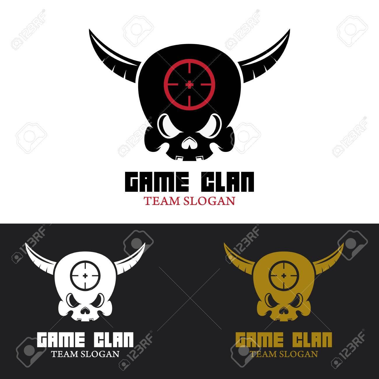 Spiel-Clan-Vorlage. Menschlicher Schädel Mit Hörnern. Design-Element ...