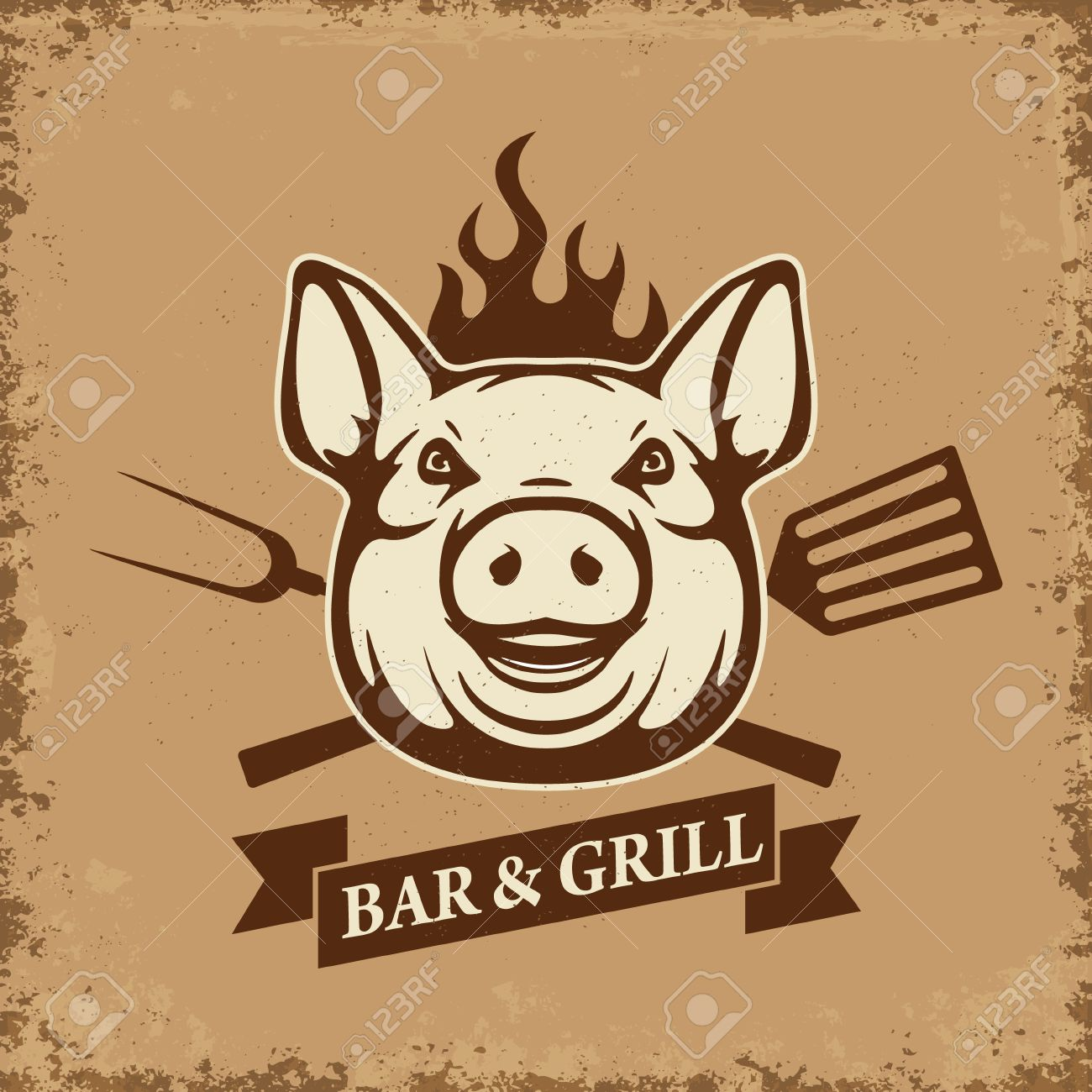 Bar and grill. Pig head with kitchen tools on grunge background. Design element for restaurant menu, poster. BBQ invitation card. Vector illustration. - 60506367