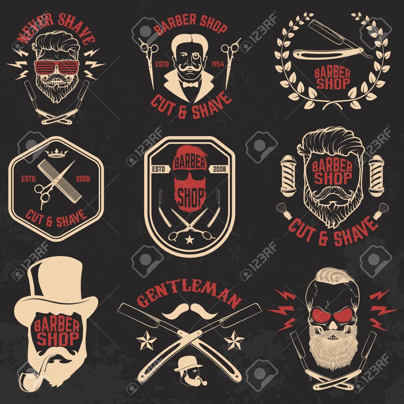 Set of Barber shop emblems. Design elements for logo, label, emblem, sign, badge, brand mark. Vector illustration. - 60497387