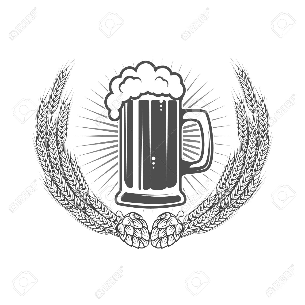 beer label template beer mug in wreath from wheat with hop
