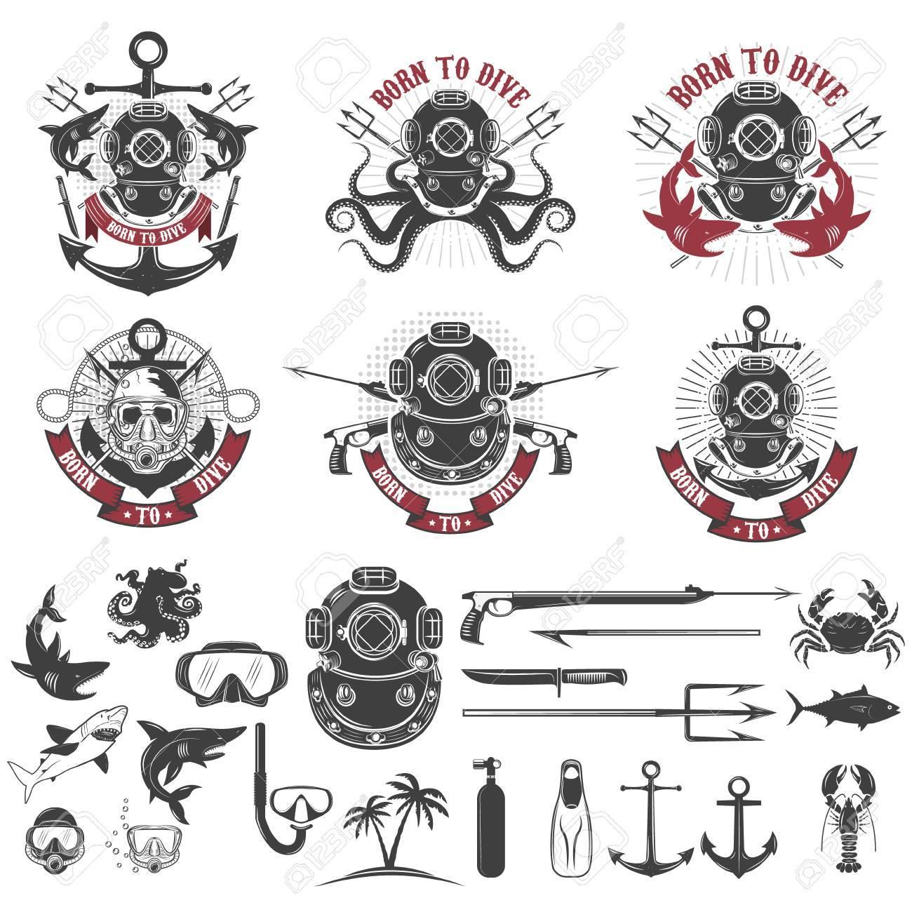 Born to dive. Set of vintage diver helmets, diver label templates and design elements. Design elements for logo, label, emblem, sign, badge, brand mark. Vector illustration. - 60497405
