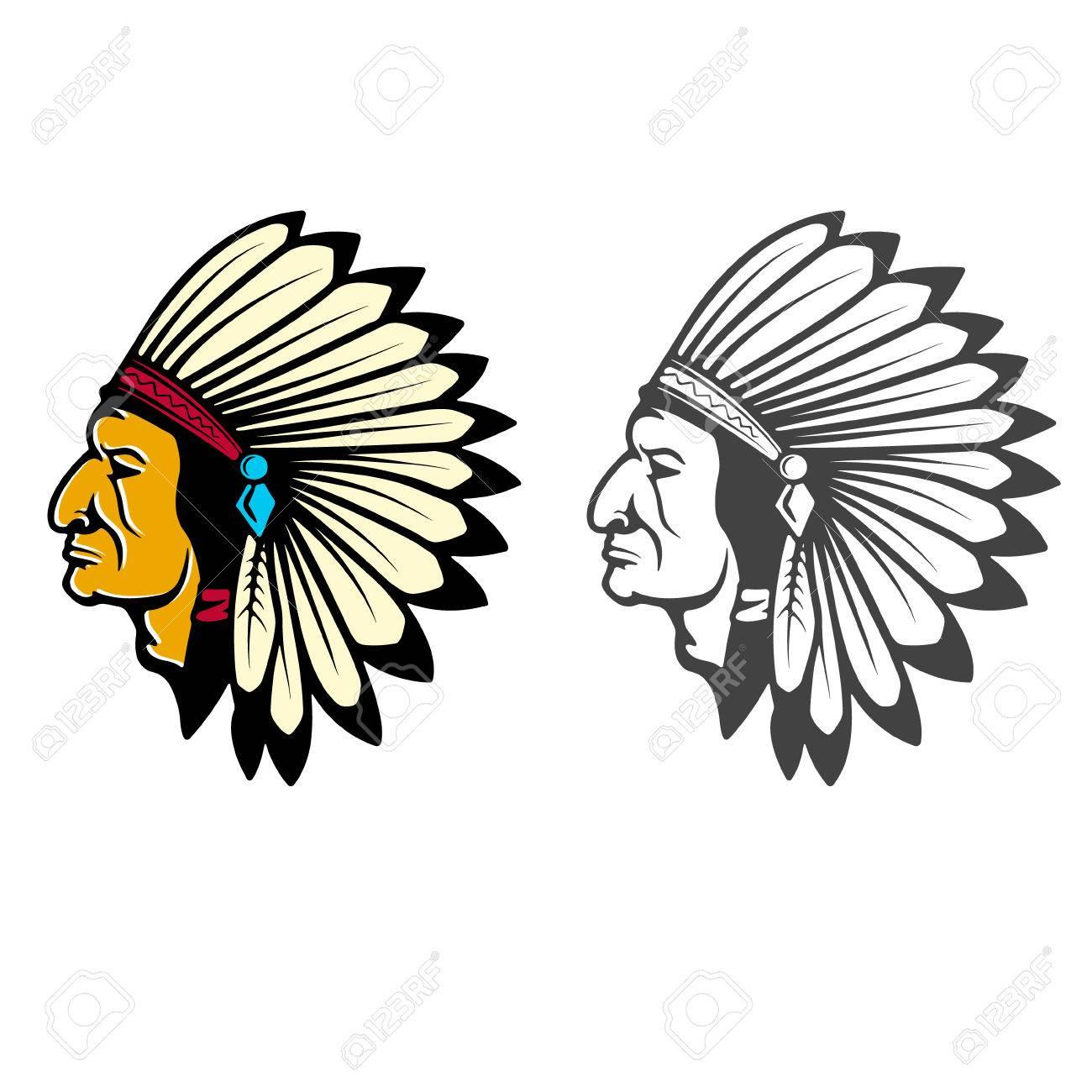 Indian Head Concept Design Element For Logo Label Emblem