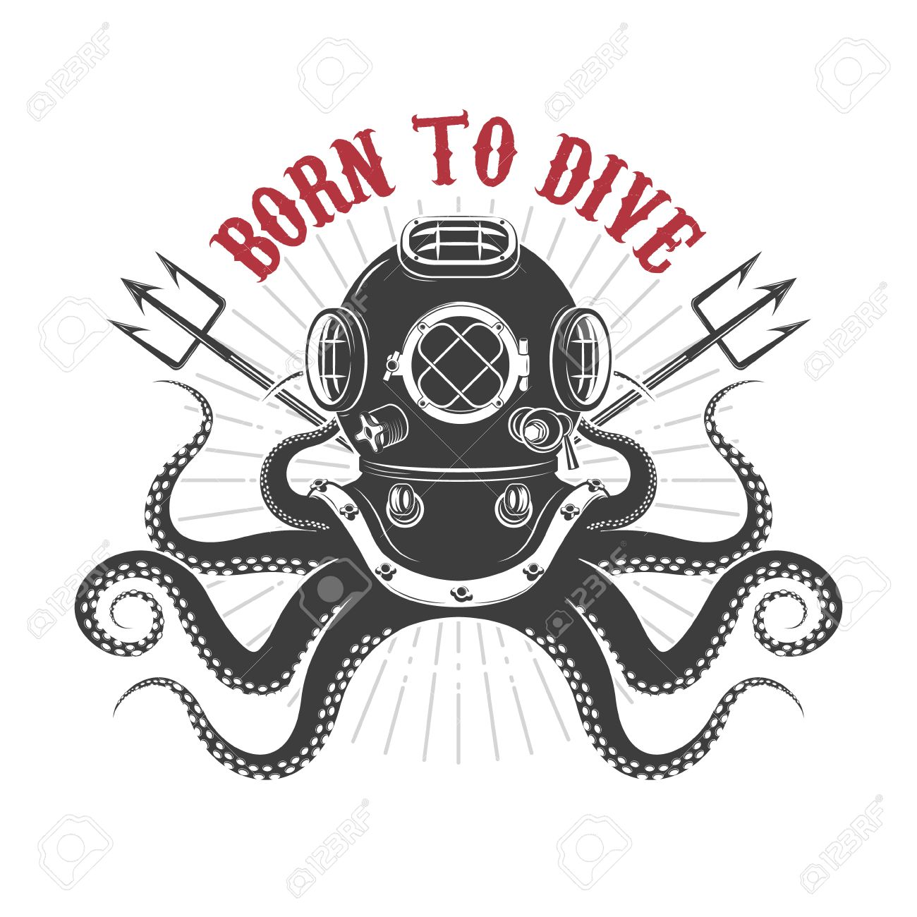 Born To Dive. Octopus With Diver Helmet And Two Tridents. Template ...