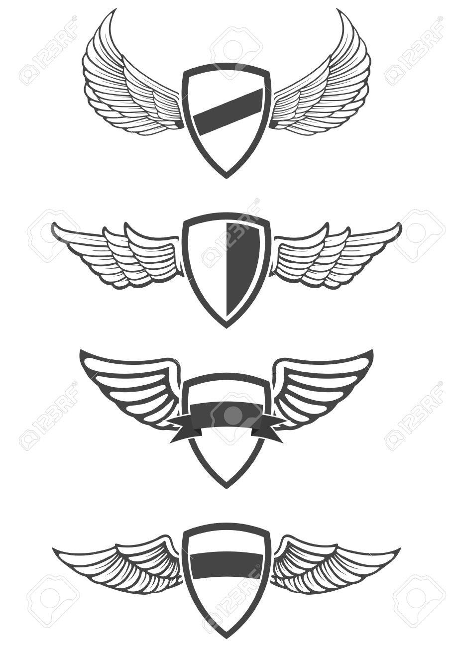 Set Of Emblem Templates With Wings. Design Element For Logo ...