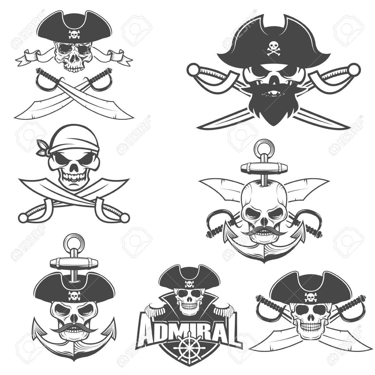 Set-Piraten-Schädel Mit Schwertern. Design-Element Für Logo, Etikett ...