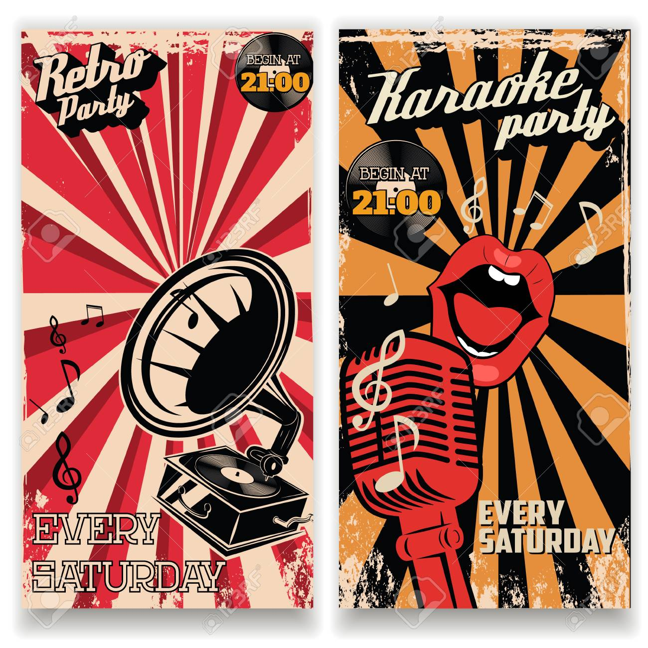 karaoke vintage party poster and retro party flyers templates