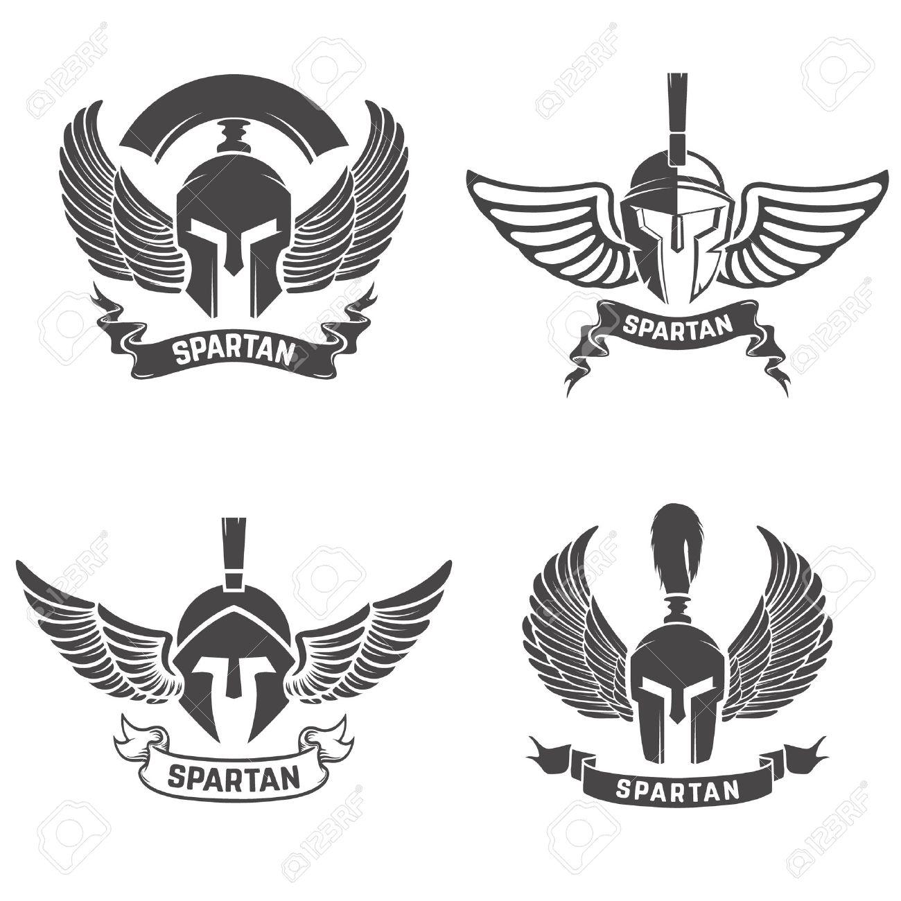 Set of the spartan helmets with wings. Design elements for logo, label, emblem, sign, brand mark. Vector illustration. - 62196087