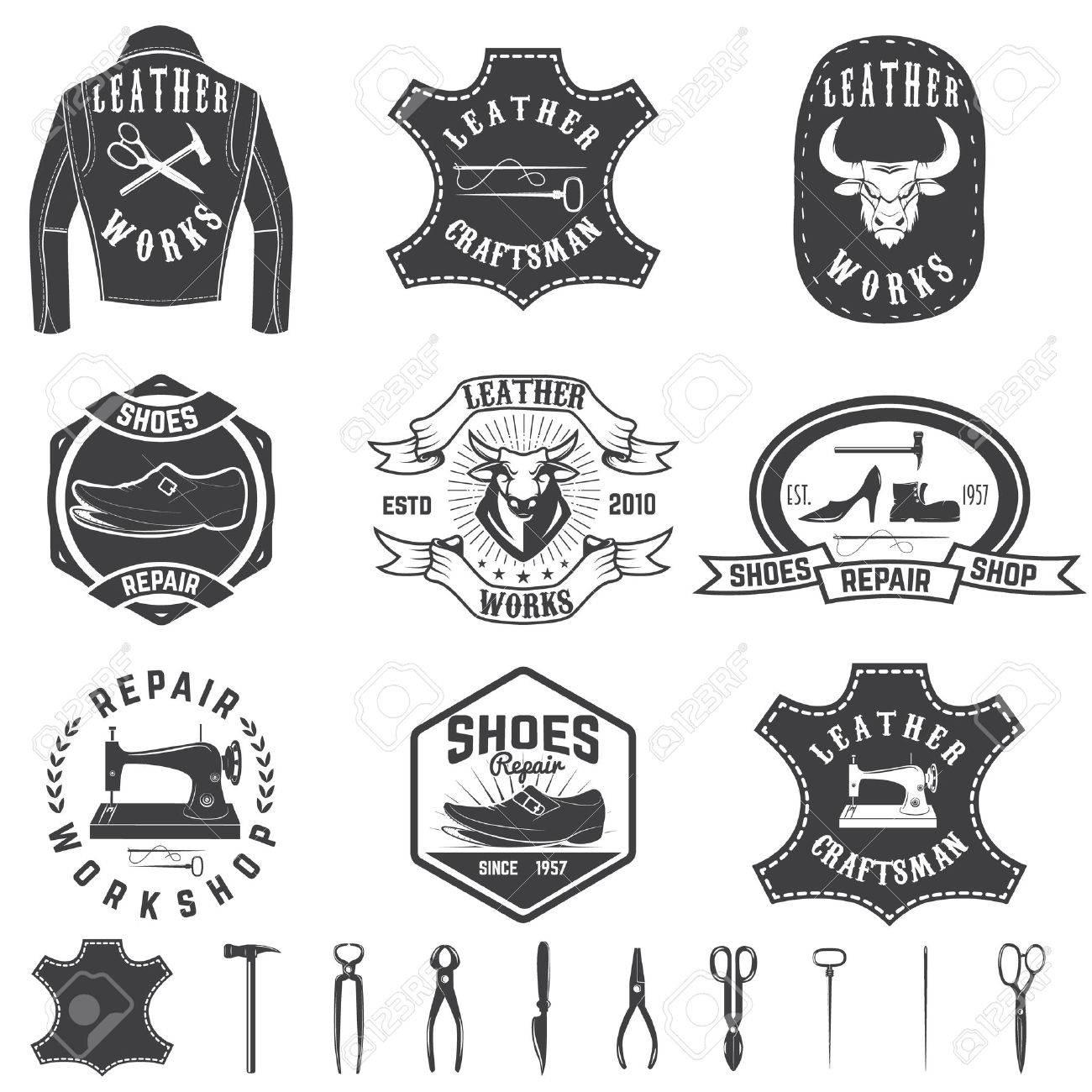 Set of repair workshop labels and design elements. Leather works, shoe repair, apparel workshop. - 62781110