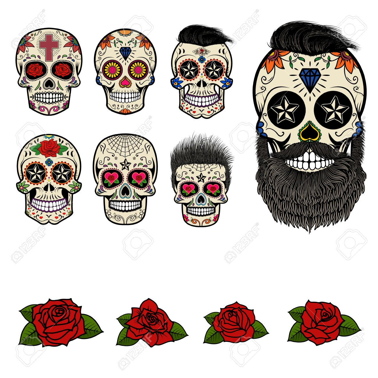 Set Of Sugar Skulls And Design Elements Day Of The Dead Skull