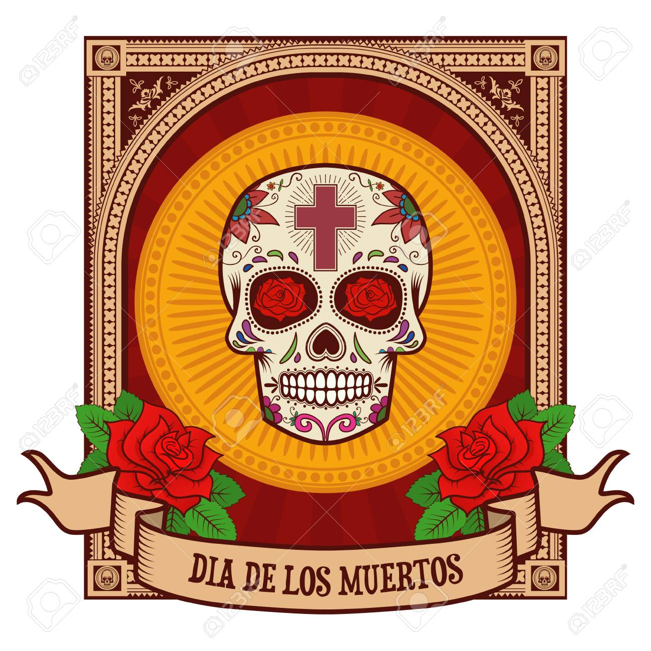 Dia De Los Muertos. Cráneo Del Azúcar En El Marco De La Vendimia ...