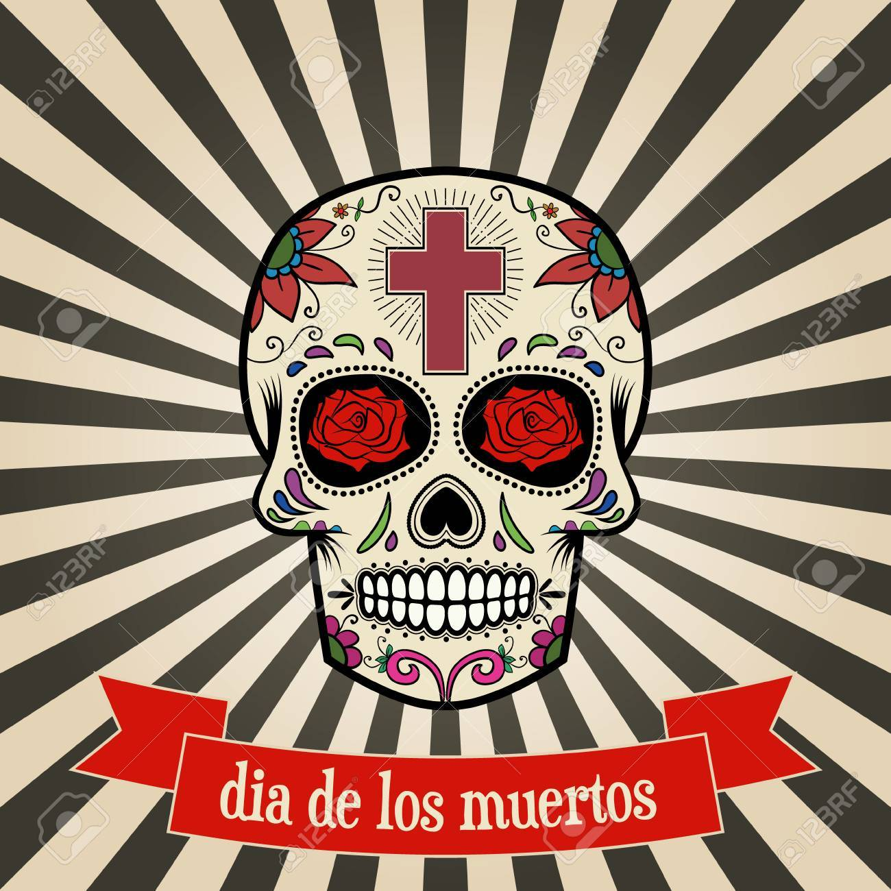 day of the dead. dia de los muertos. Sugar skull on vintage background with banner. Vector illustration. - 63464582
