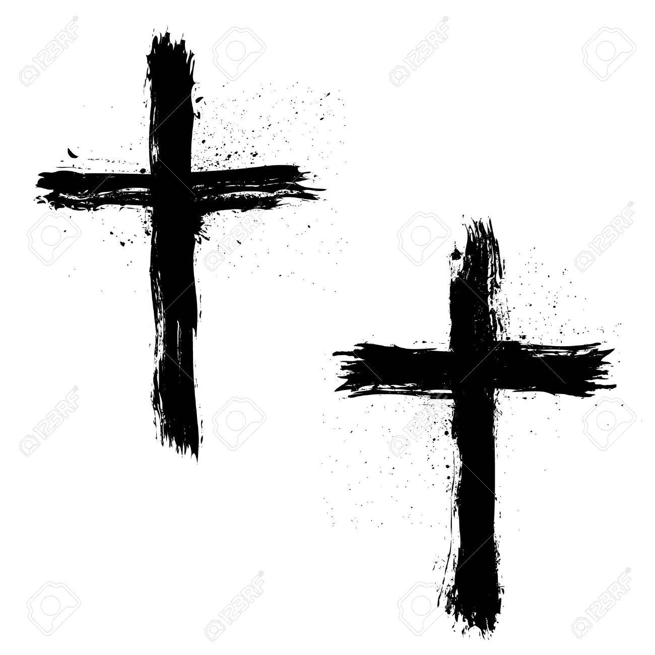 Set of Abstract Grunge Crosses. Vector illustration. - 63464640