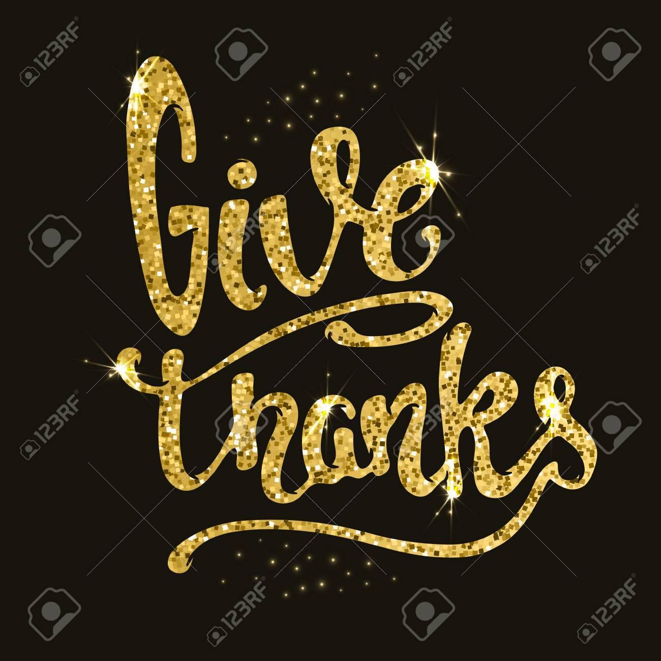 Dar Gracias Dibujado A Mano La Frase En El Estilo De Oro Con Destellos Ilustración Del Vector