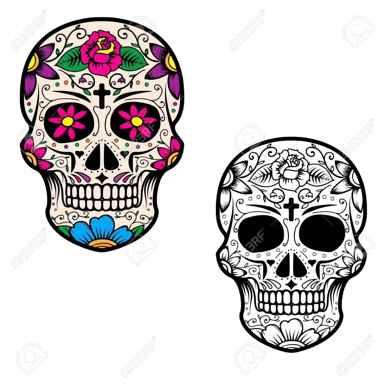 set of sugar skulls isolated on white background day of the rh 123rf com sugar skull vector free sugar skull vector tutorial