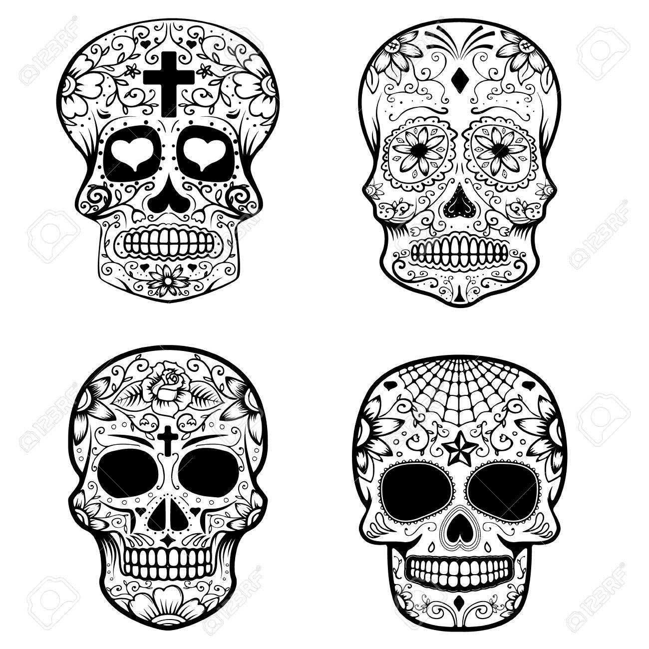 Set Of Sugar Skulls Isolated On White Background Day Of The