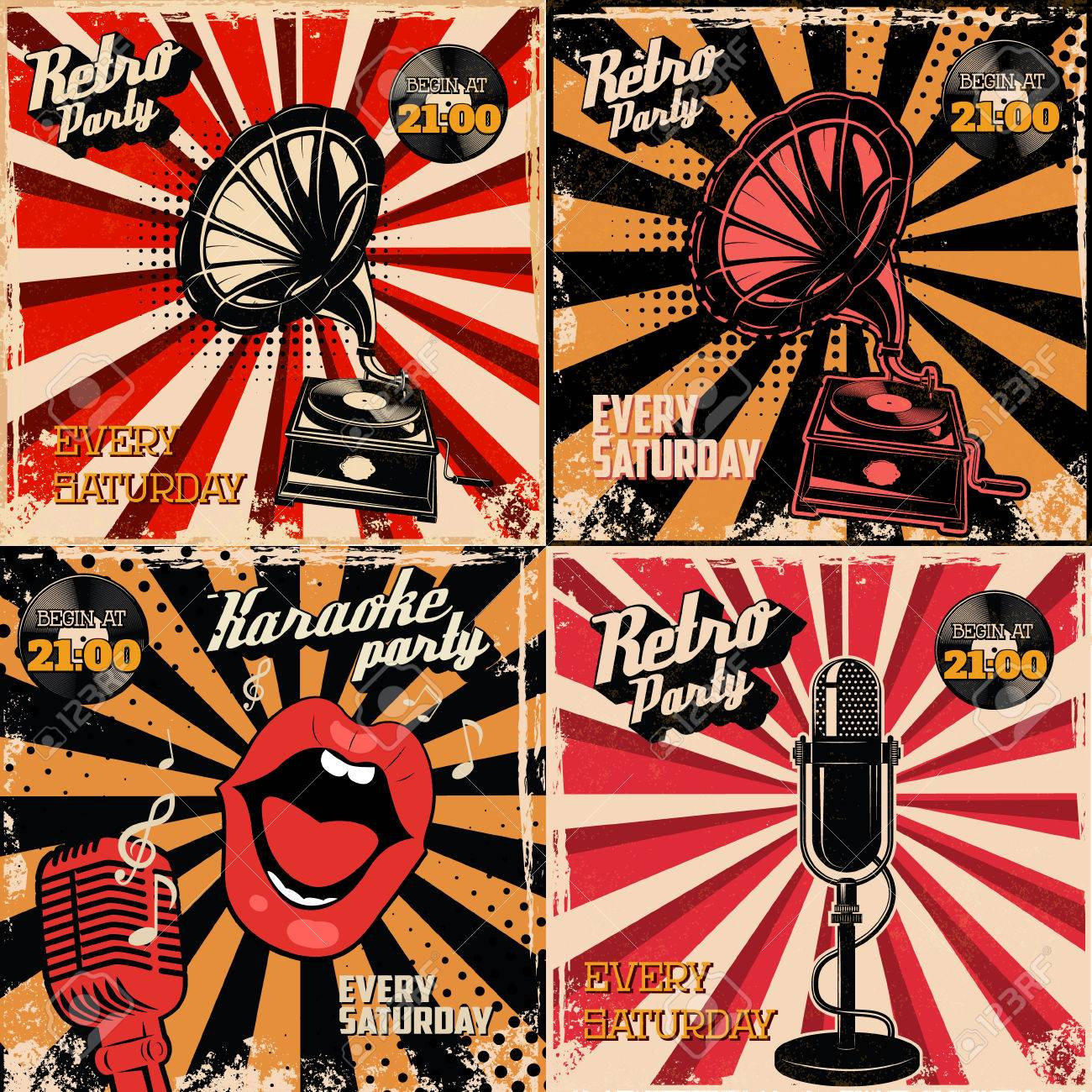 set of retro party label templates design elements for poster