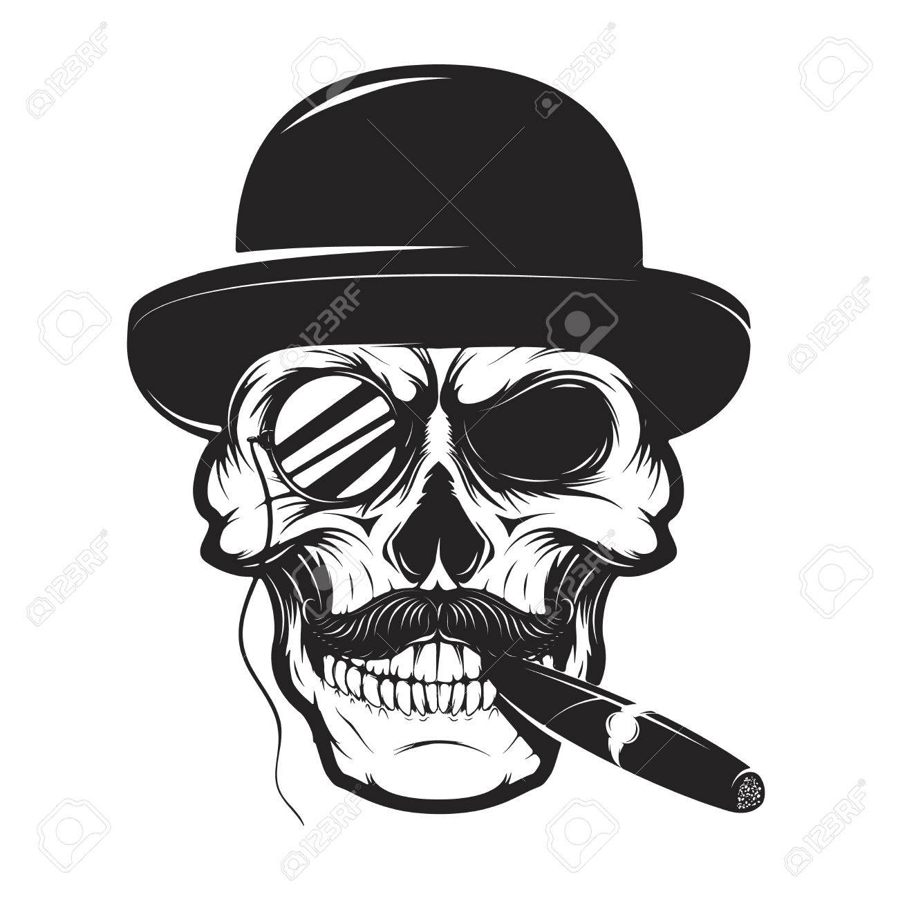59606481b7eb5 Skull In Hat With Cigar And Monocle. Design Element For Logo ...