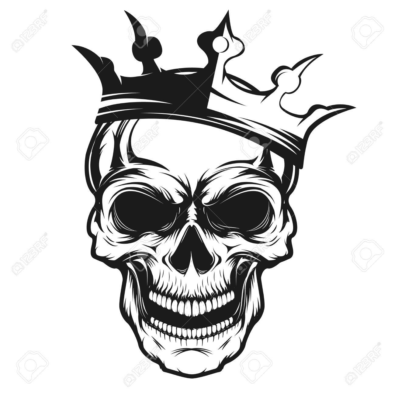 Skull with crown. Design element for emblem, badge, sign, t-shirt print. Vector illustration. - 69649807