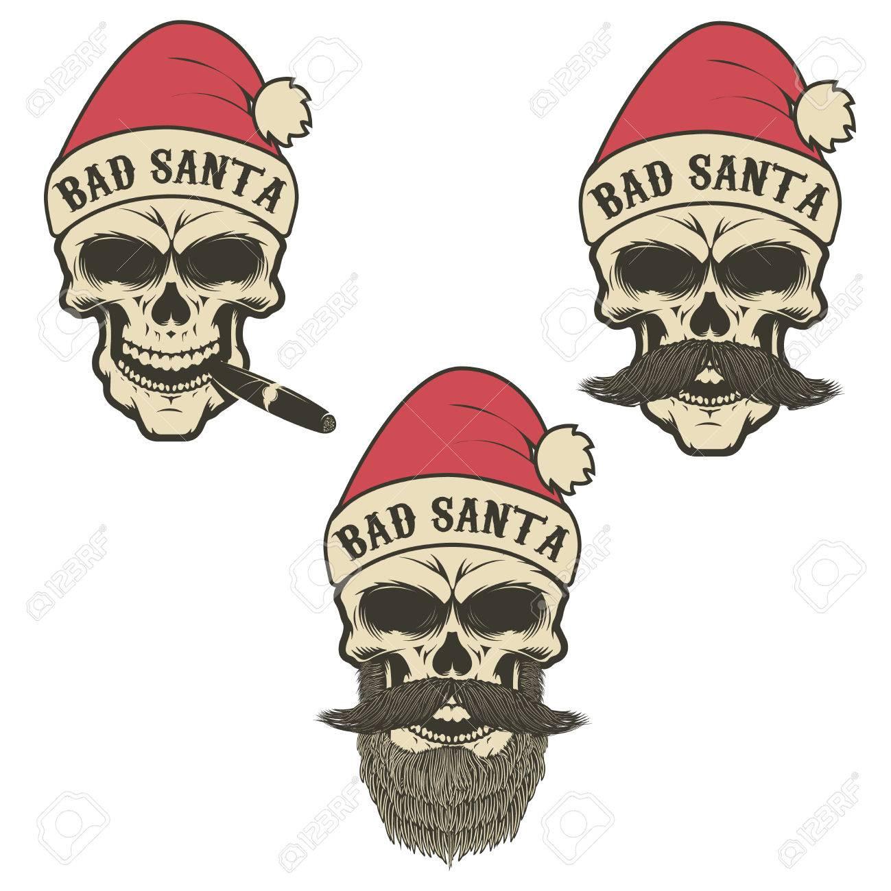 Bad Santa. Set Of Skulls In Santa Claus Hat With Beard 4a24b12f0b68