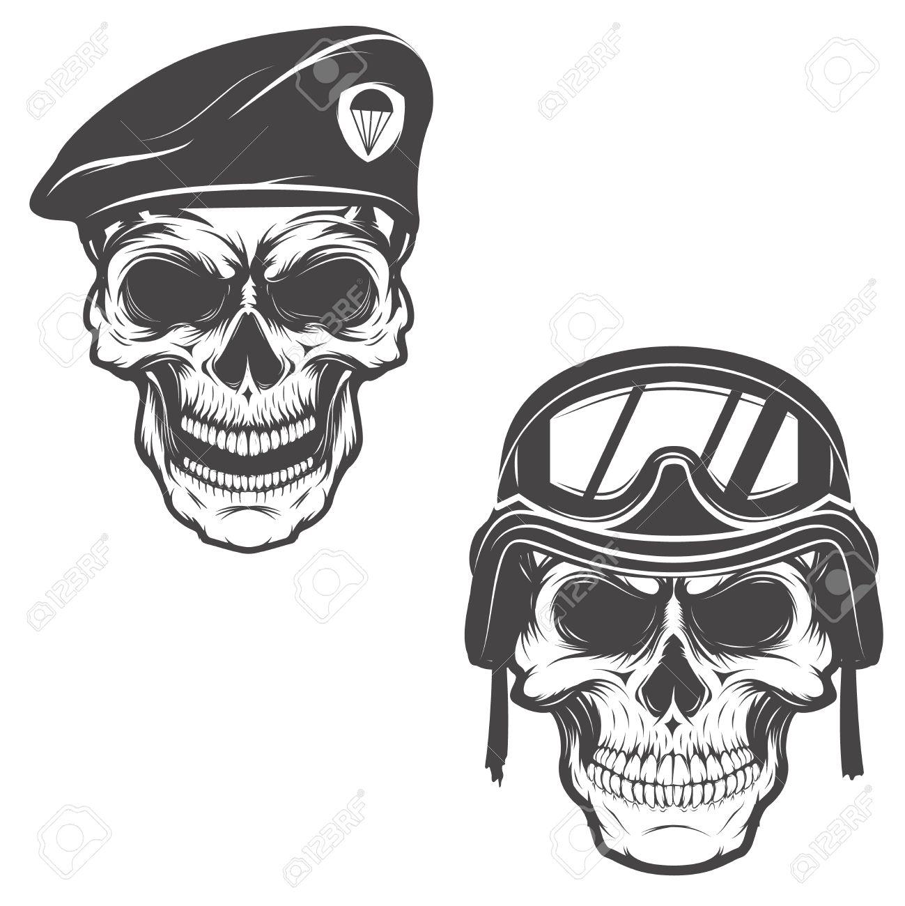 Militär-Schädel. Schädel In Fallschirmjäger Barett. Schädel In ...