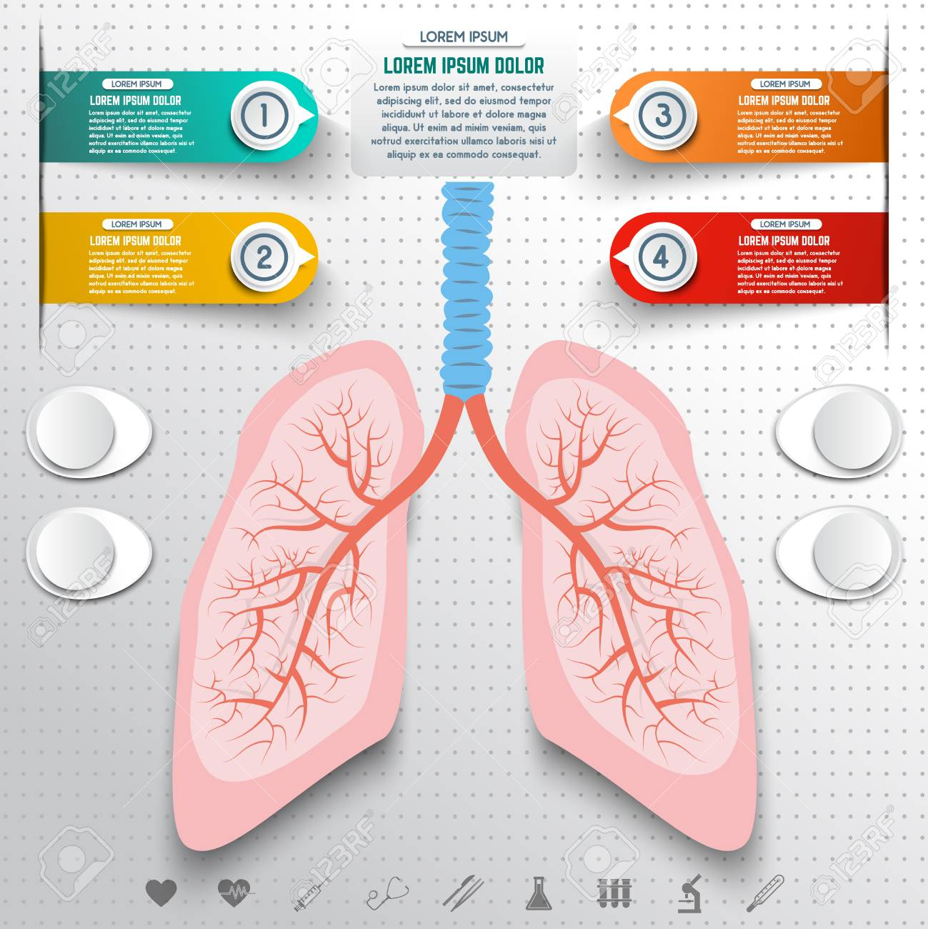 Abstract human lung from dots and lines  Set of colorful infographic