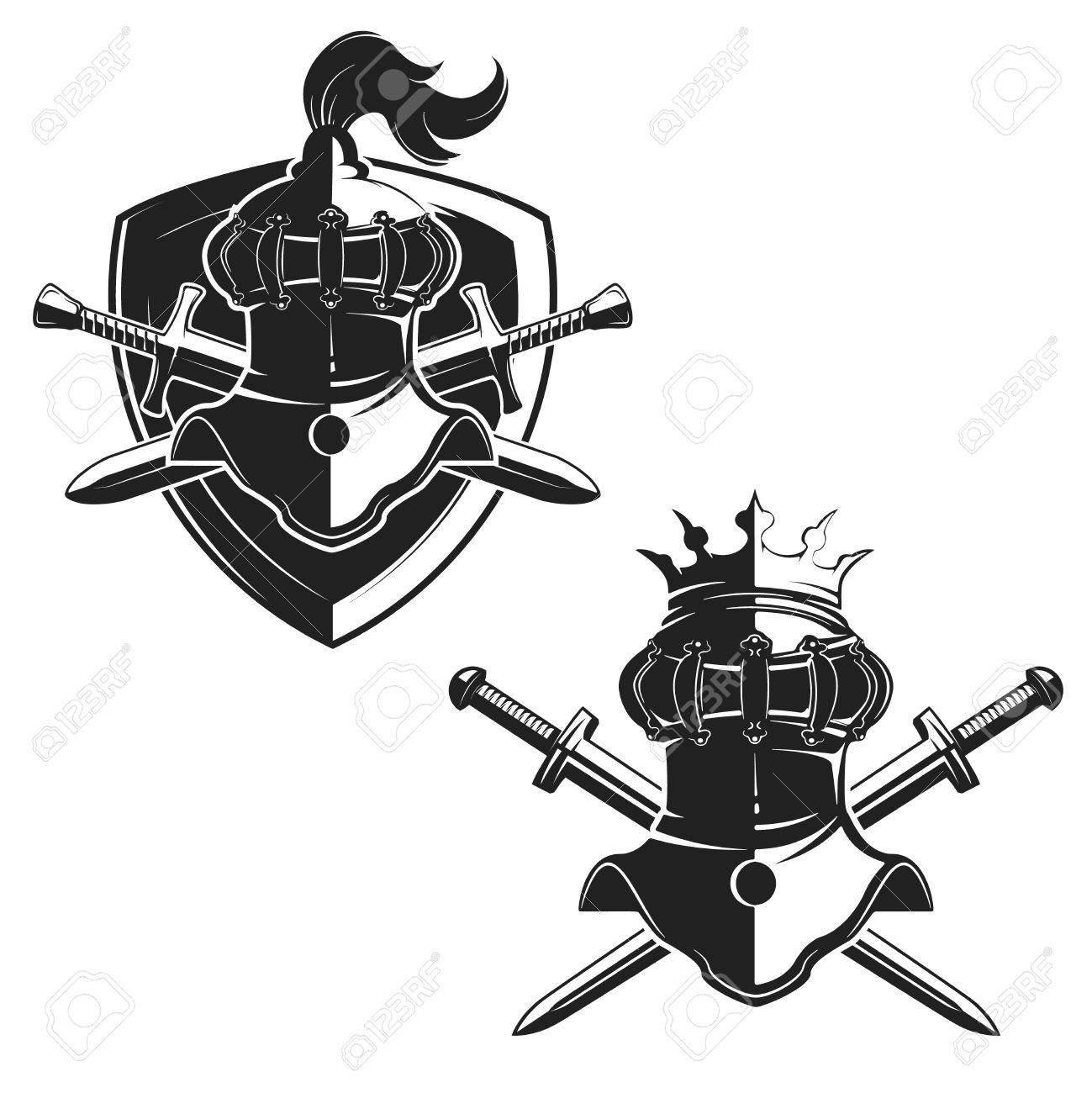 set of the emblems templates with swords and knights helmets