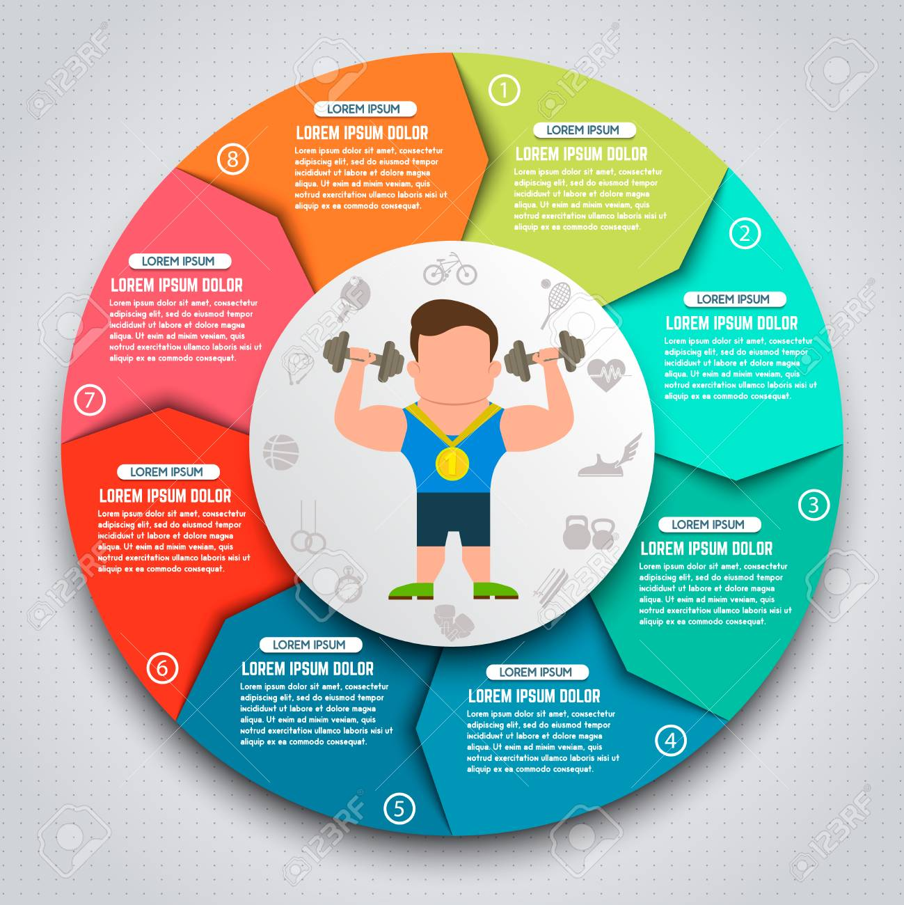 Colorful sport infographic elements  Sportsmen with kettlebells