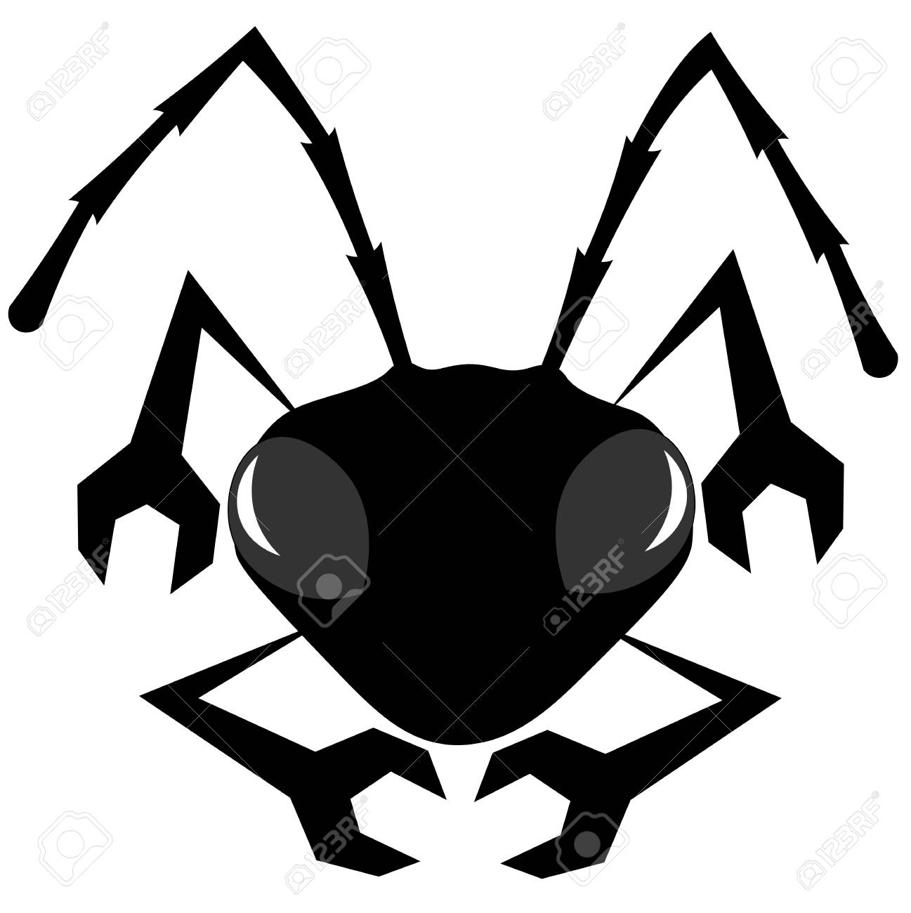 silhouette with paws in the form of a wrench an ant minimalist