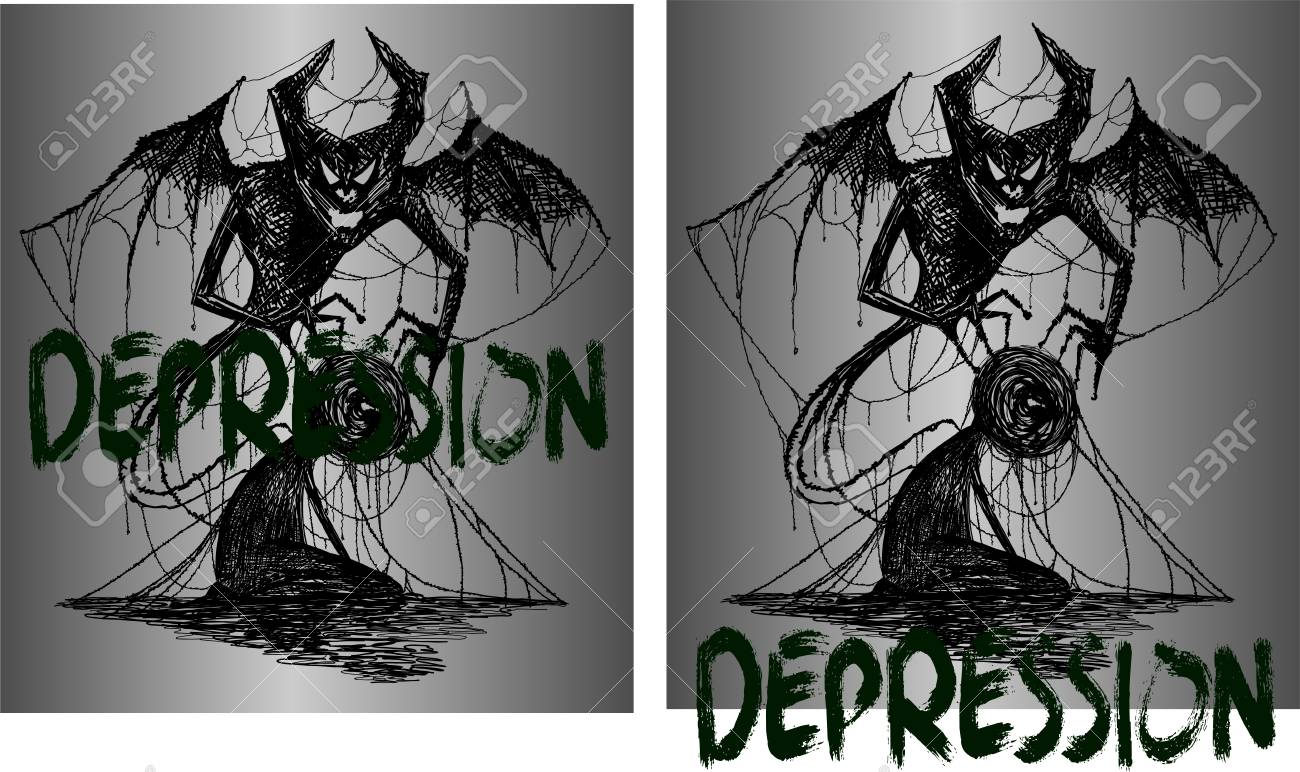 acb892f7 drawing for tattoo or t-shirts demon and a man entangled in depression  Stock Vector