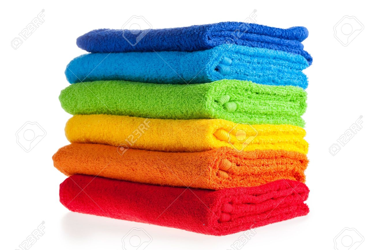 Colour terry towels combined by pile on white background. Isolated. Stock Photo - 5954008