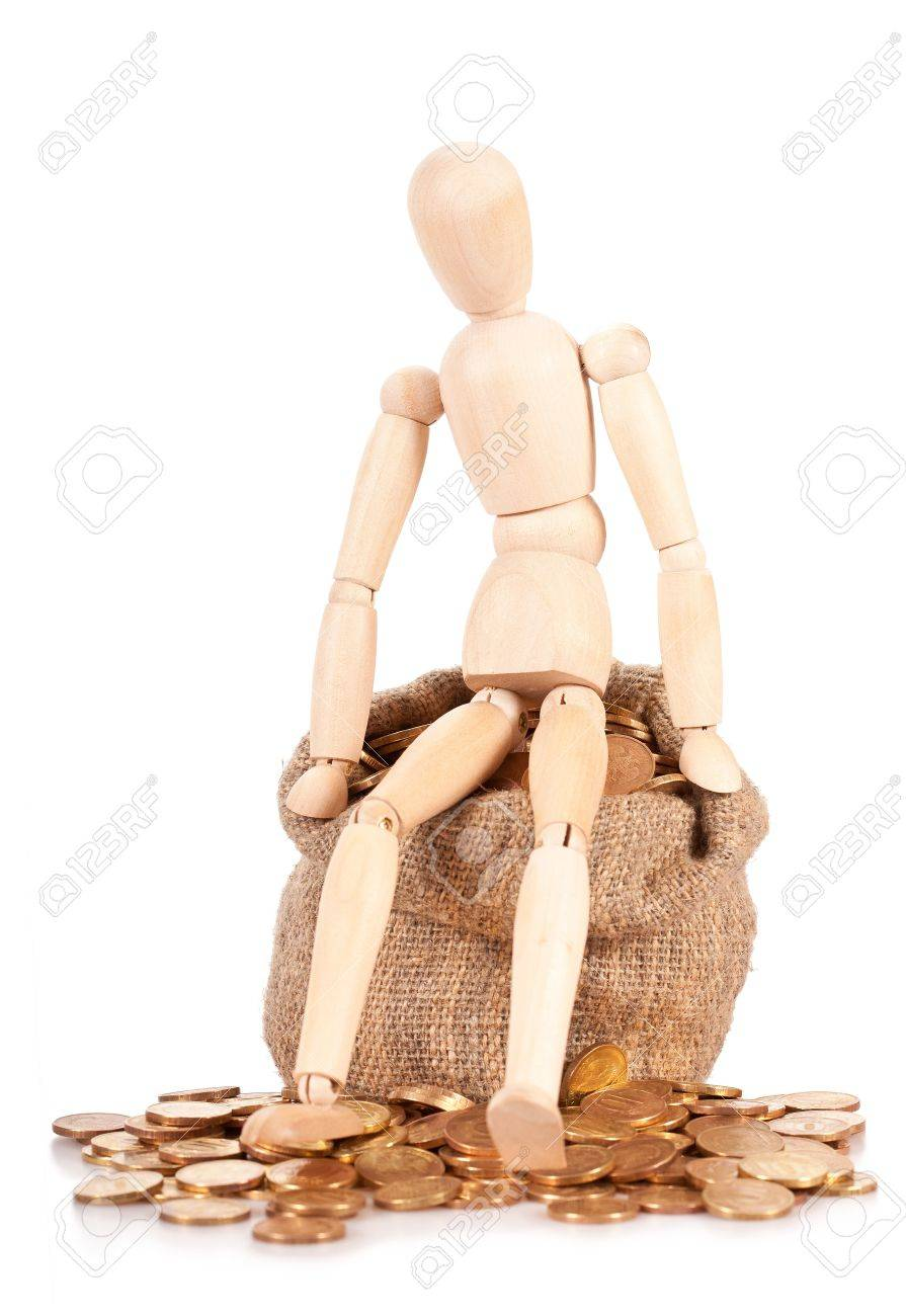 The person sits on a bag with money. The concept of accumulation the capital Stock Photo - 12301903