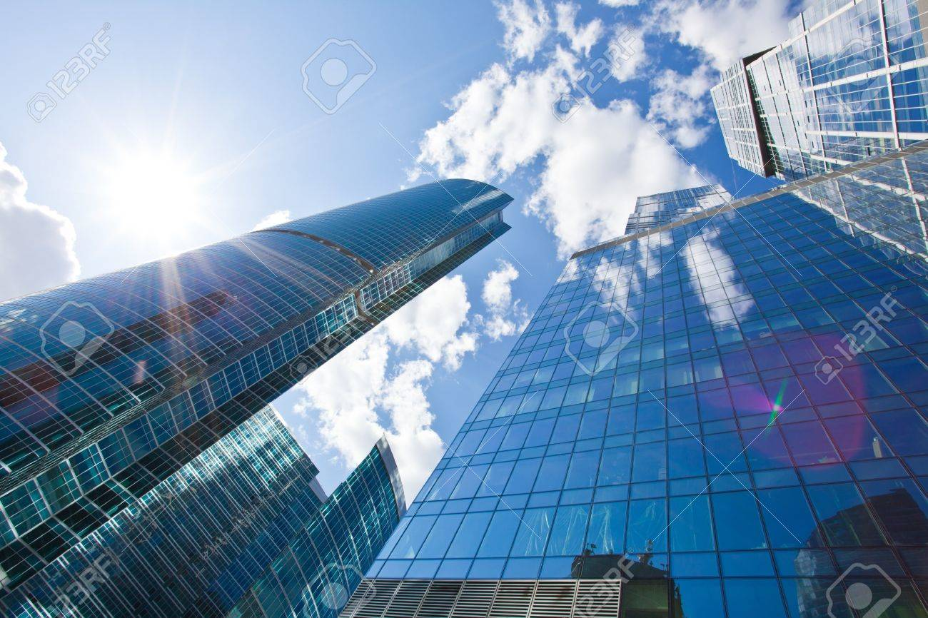 Blue Skyscrapers on sky background Stock Photo - 15253761