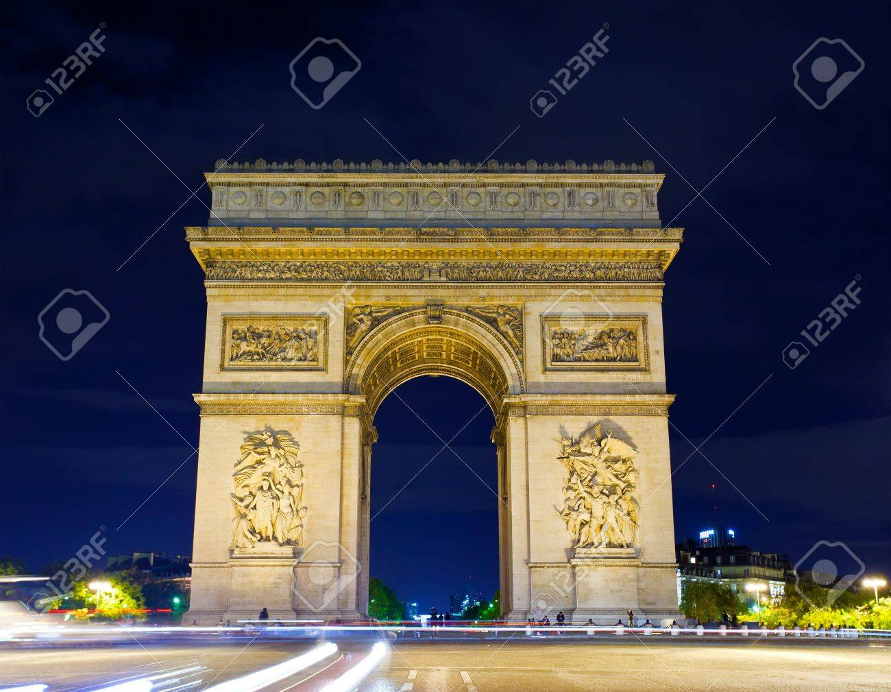 Arch of Triumph at night, Paris, France Stock Photo - 15877293