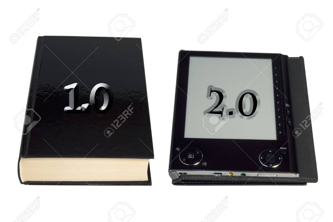 A book and an eBook reader over white Stock Photo - 5918048