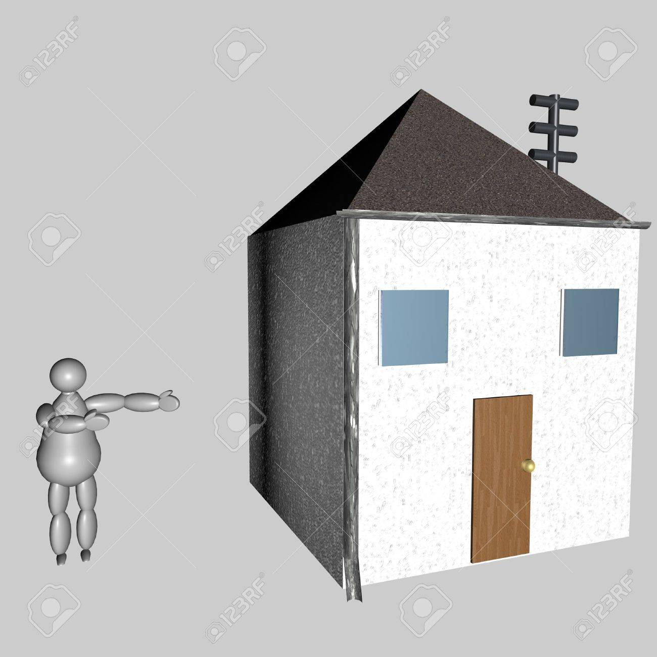3D Puppet Showing His House, Over Gray Background Stock Photo   6061639