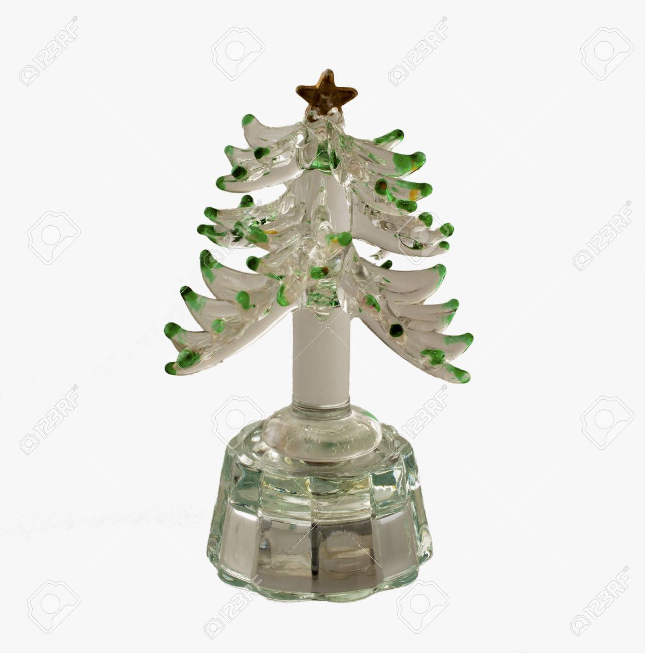 Little Plastic Christmas Tree For Decoration Over White Background