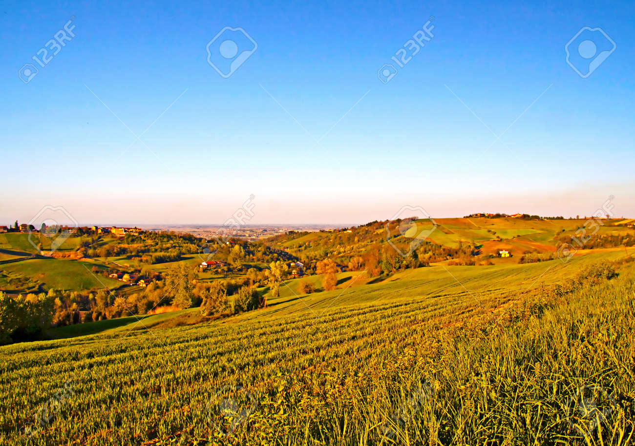 Landscape of country with fields and hills Stock Photo - 9412391