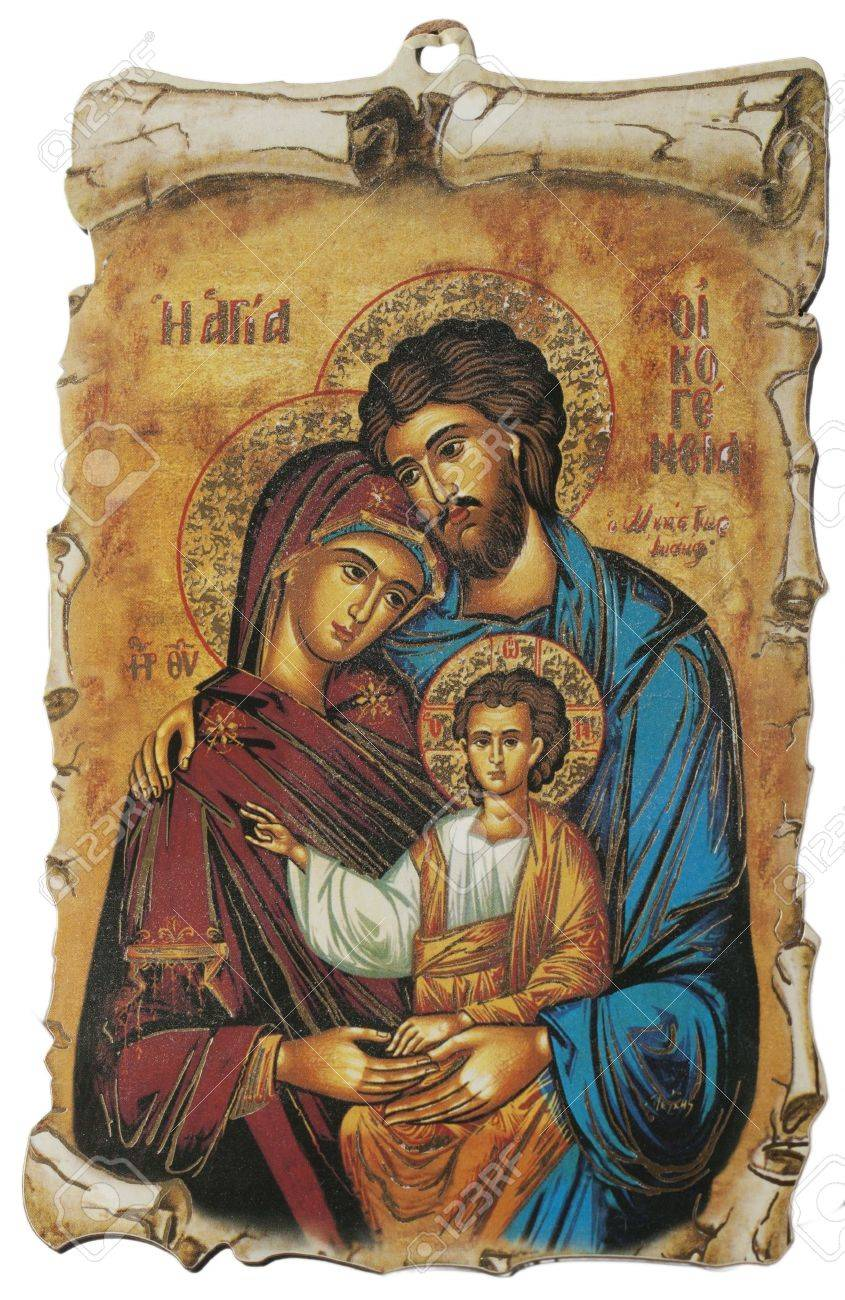 Greek Icon with Holy Family, isolated over white - 11764603