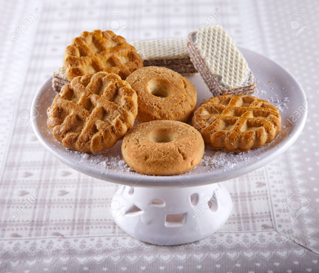 Some different kind of biscuits over a white upstand Stock Photo - 17185551