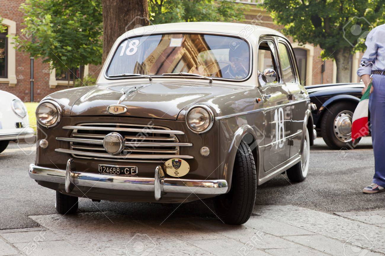 Casale monferrato italy june 8 1955 fiat 1100 103 driven by biscaldi alessandro
