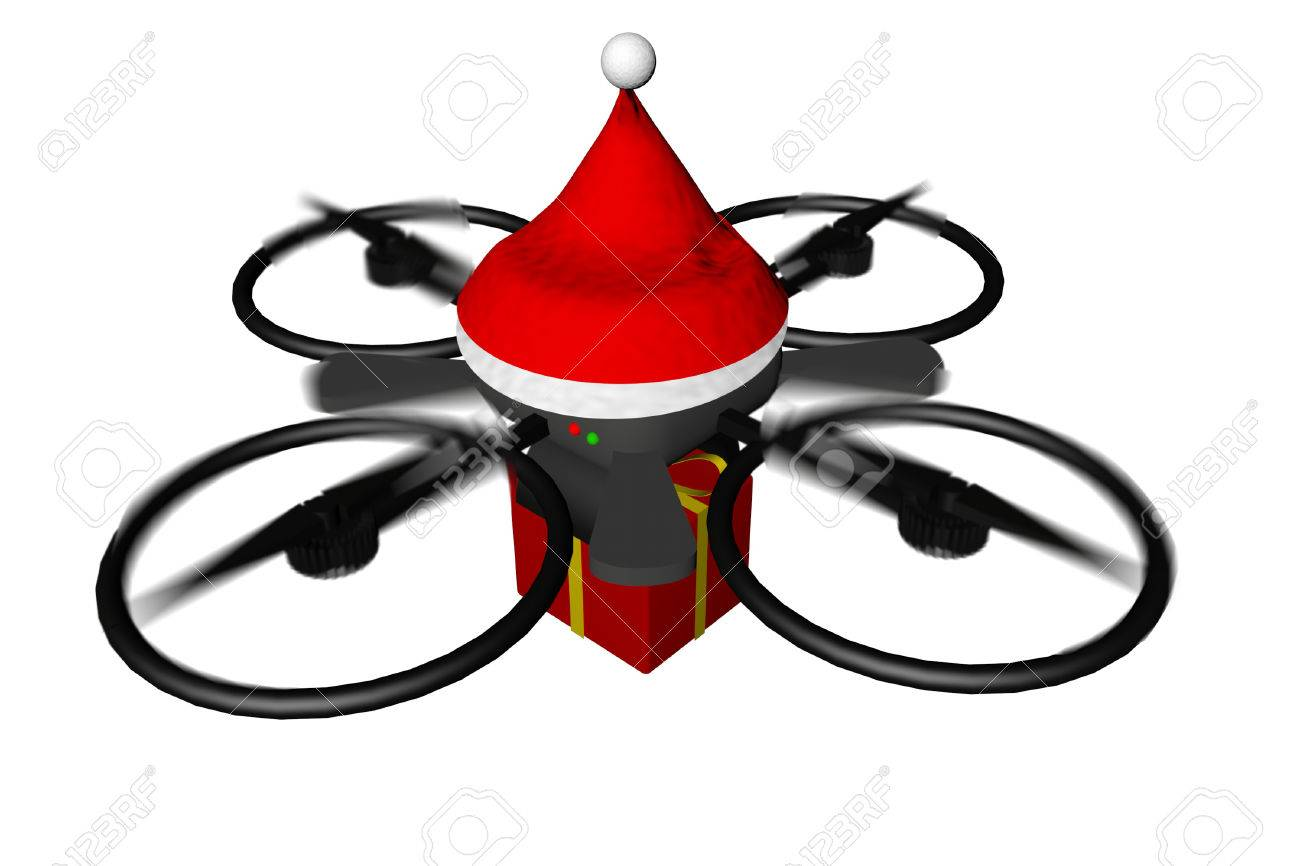 Drone with Santa Claus hat bringing a gift, 3d render Stock Photo - 24467945