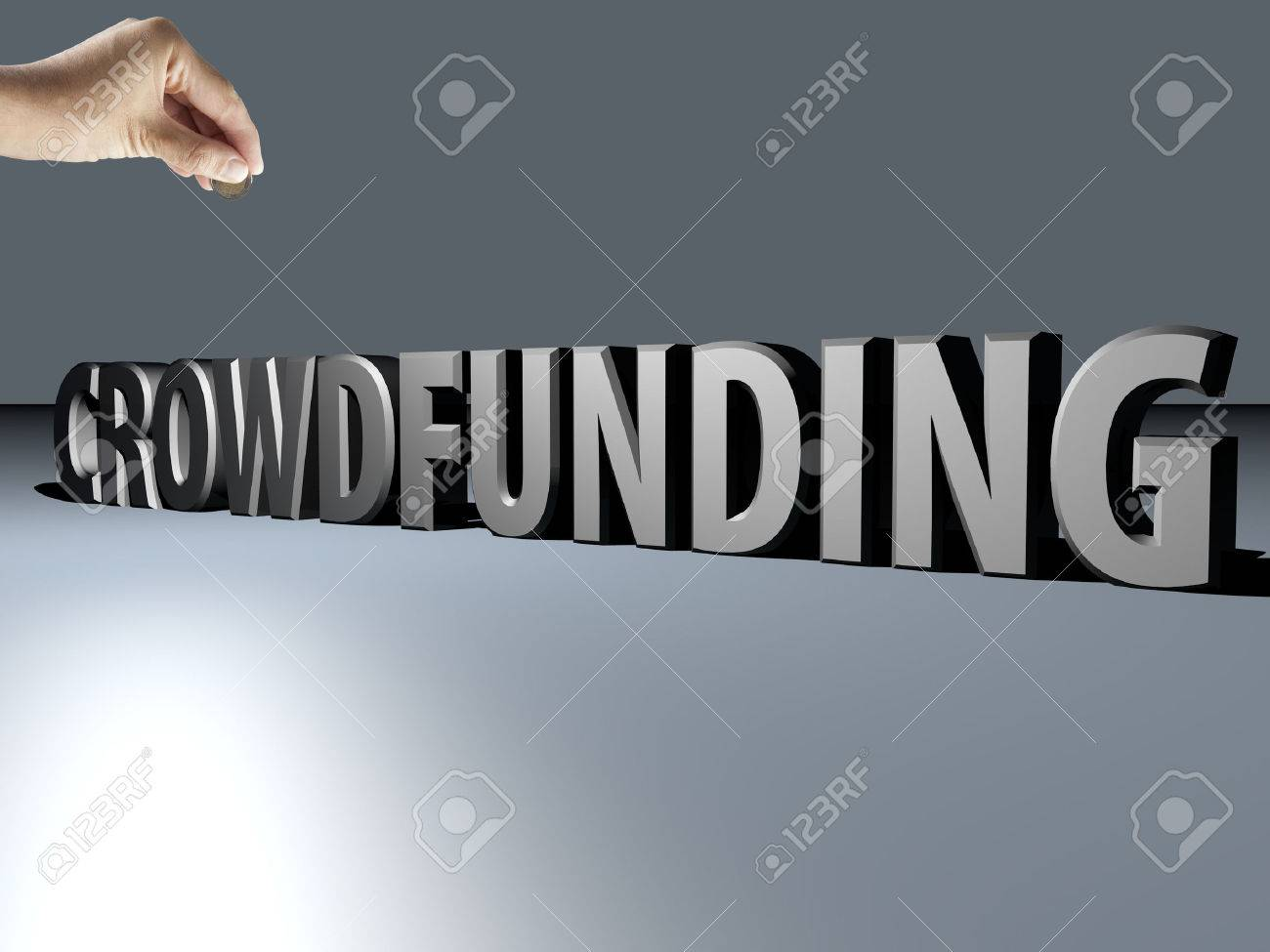 Big 3D text Crowdfunding with hand bringing money - 27256570