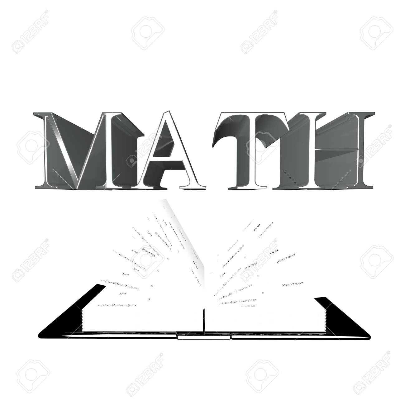 math word over an open book with numbers and formulas, 3d render