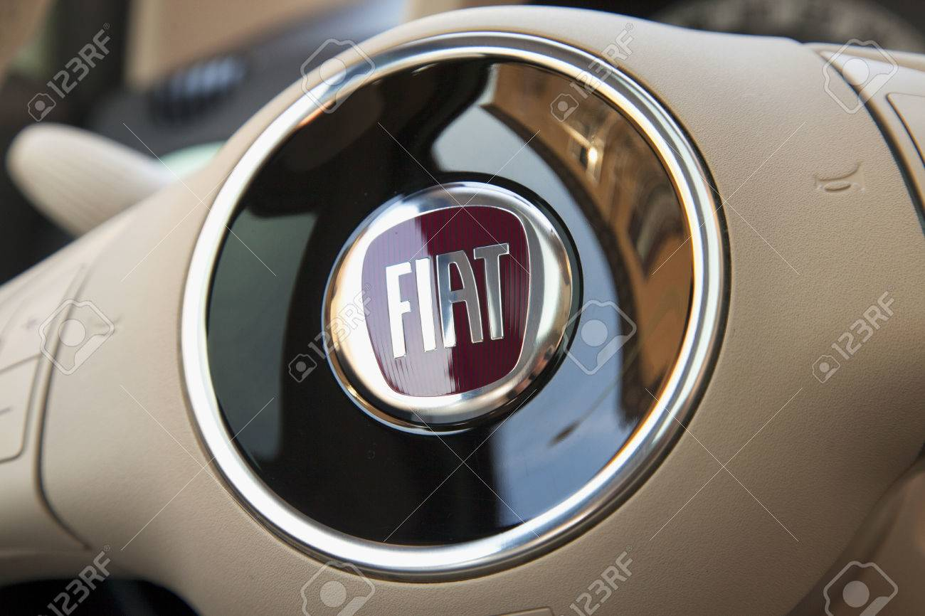 Casale monferrato march 10 2015 fiat symbol over steering casale monferrato march 10 2015 fiat symbol over steering wheel fiat is biocorpaavc
