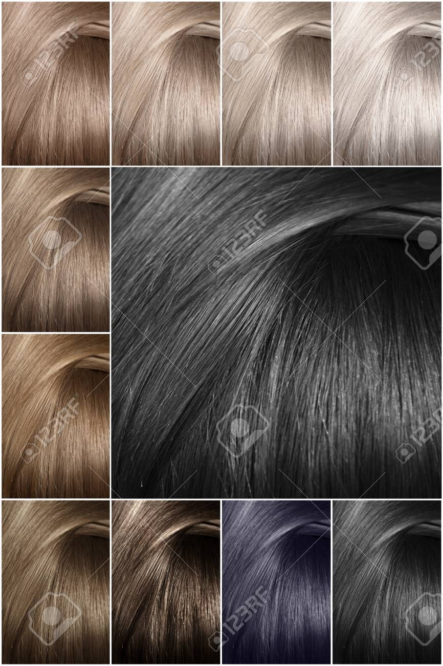 Hair color palette with a wide range of samples. Samples of colored..